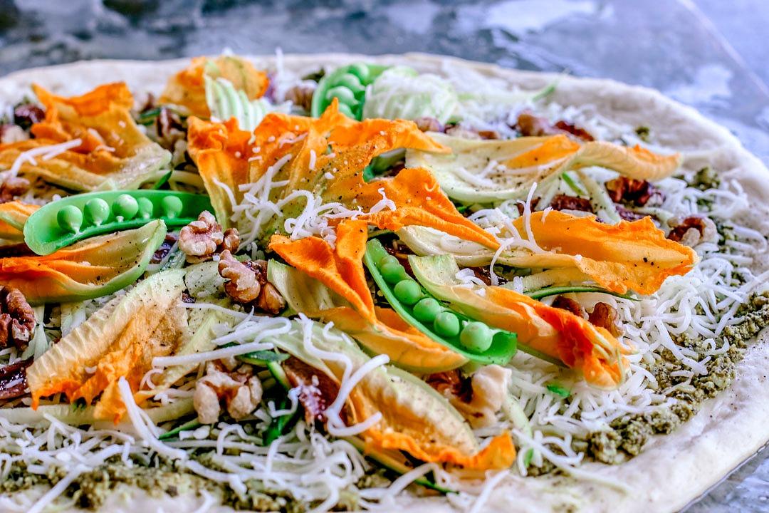 Summer Zucchini and Pesto Pizza With Squash Blossoms | Killing Thyme