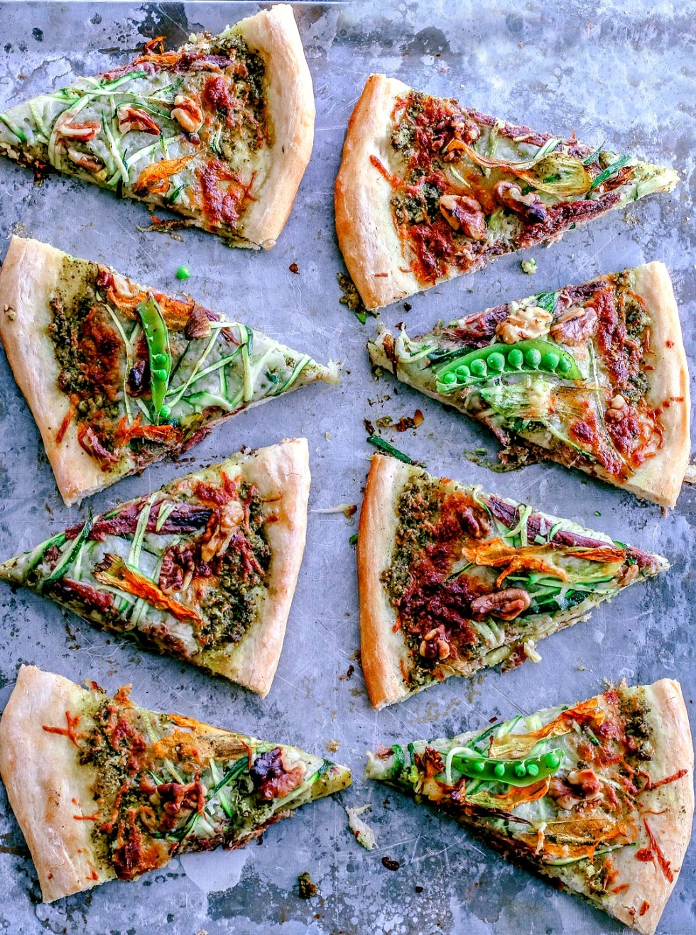 Summer Zucchini and Pesto Pizza With Squash Blossoms | Killing Thyme