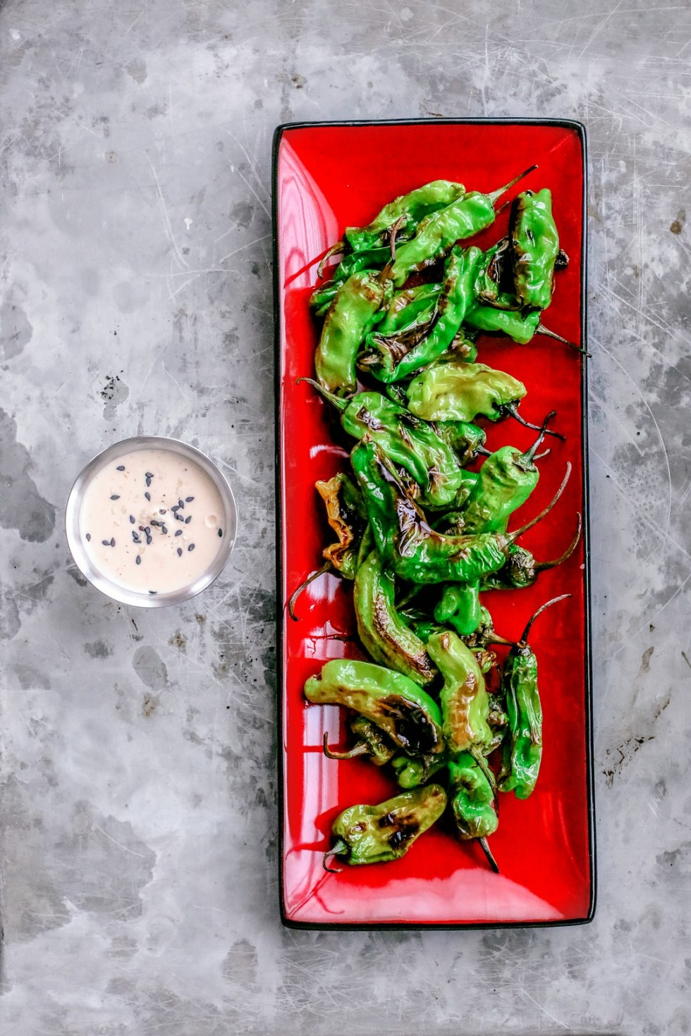 Roasted Shishito Peppers + Sriracha Soy Dipping Sauce | Killing Thyme