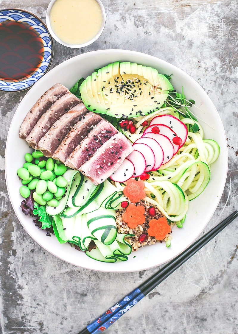 Grilled Ahi Tuna Bowl With Sesame Ginger Vinaigrette | Killing Thyme