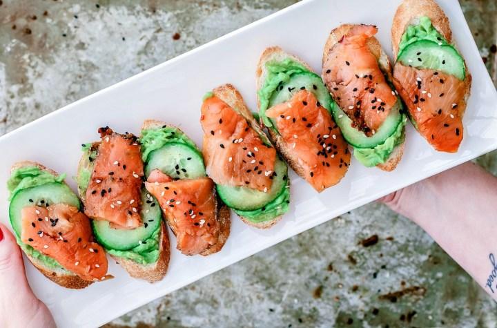Sesame Soy Smoked Salmon Crostini   Killing Thyme