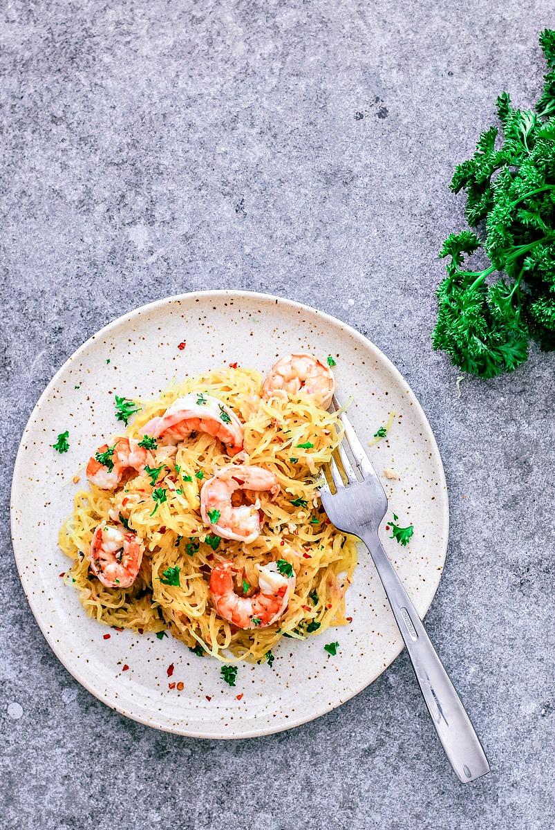 Shrimp Scampi Spaghetti Squash | Killing Thyme