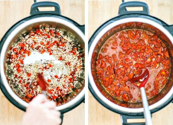 Ingredients being stirred in Instant Pot