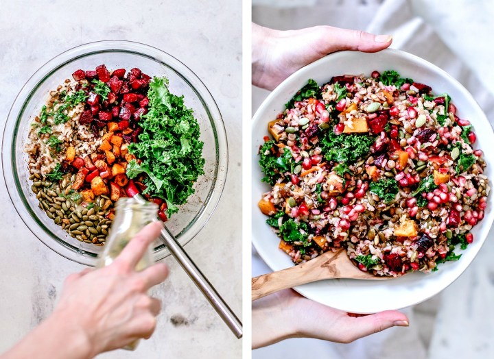 Fall Harvest Wild Rice Medley in a serving bowl collage.