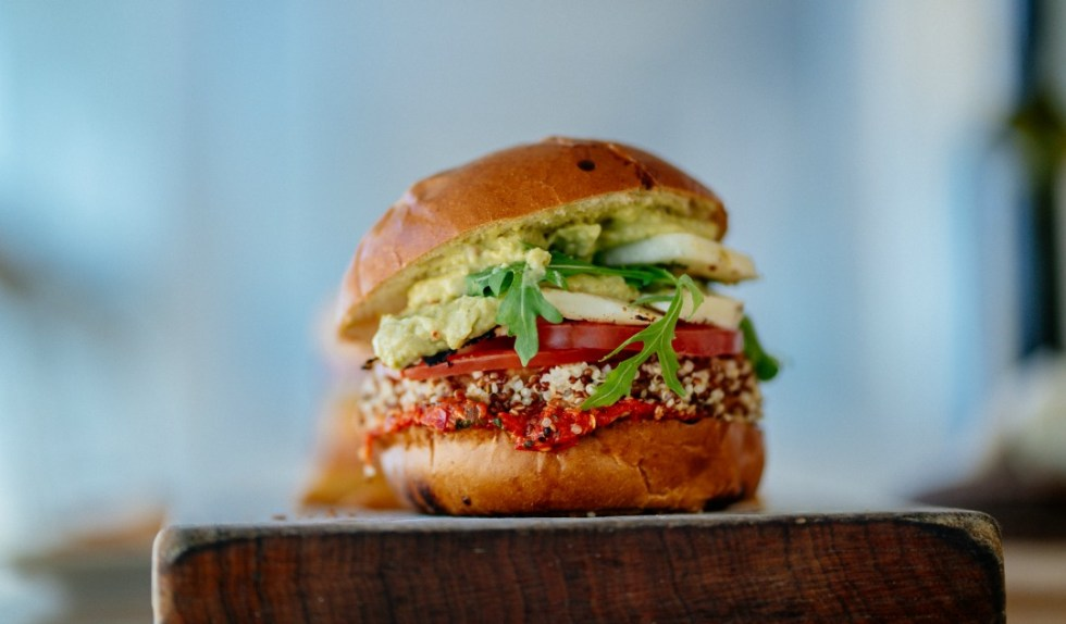 Loaded veggie burger on a plate