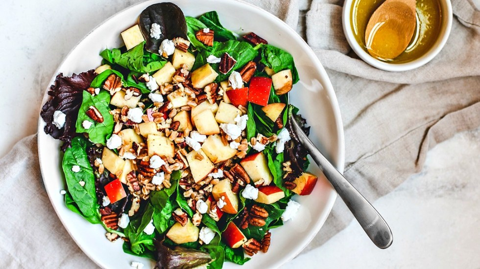 Apple Pecan and Farro Salad in a large bowl.