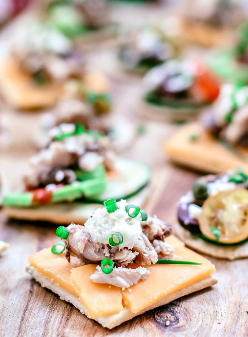 A platter of assorted canapés.
