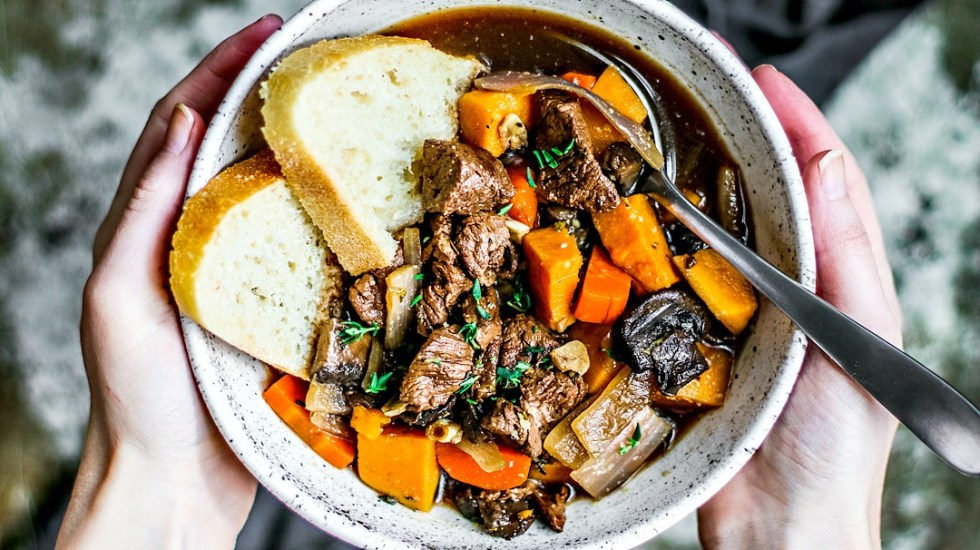 Hearty Slow Cooker Beef Stew in a bowl.