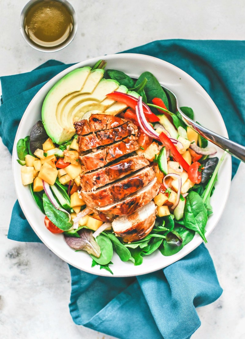 Large colorful plate of Jamaican Jerk Chicken Salad.