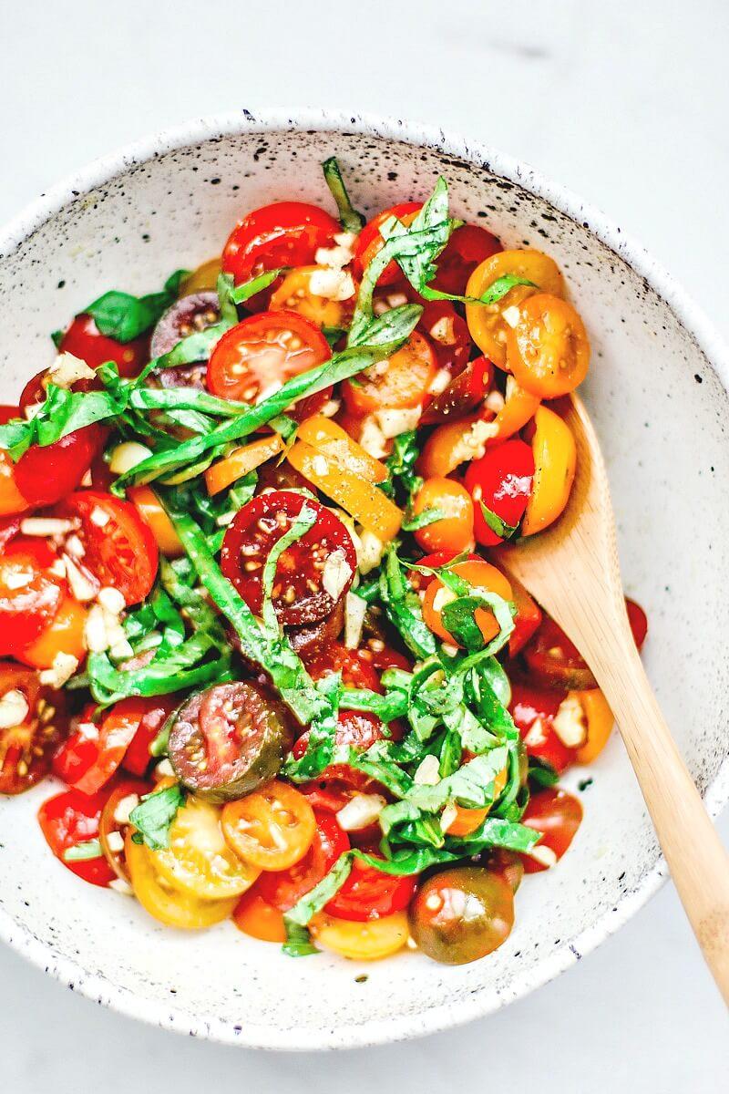 Bowl of bruschetta ingredients.