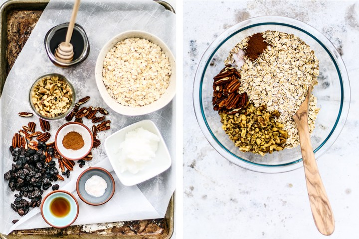 Collage of ingredients for homemade granola.
