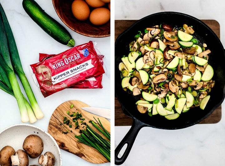 Ingredients and skillet full of vegetables.