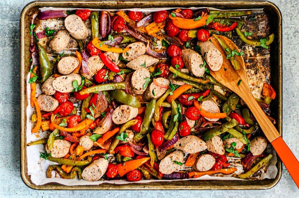 Sheet Pan Turkey Sausage and Peppers.