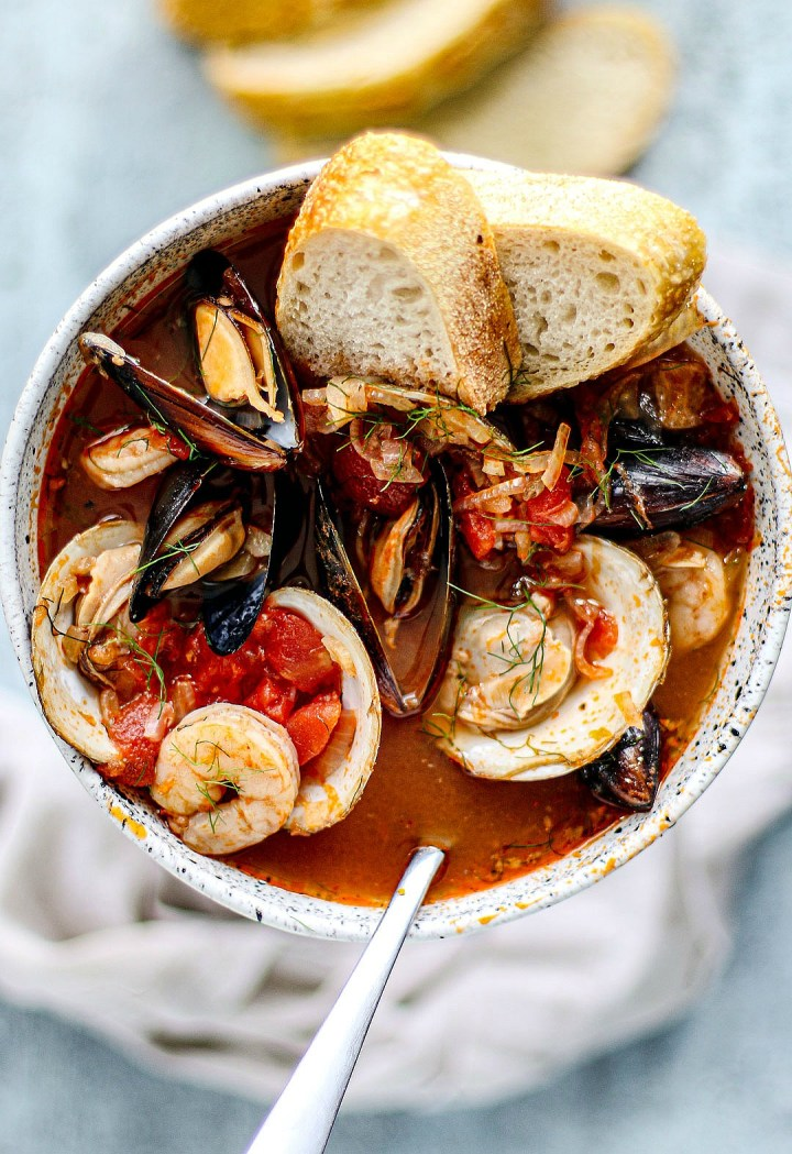 Close up of bowl of cioppino.