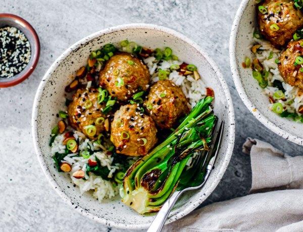 Bowl of turkey meatballs on rice.