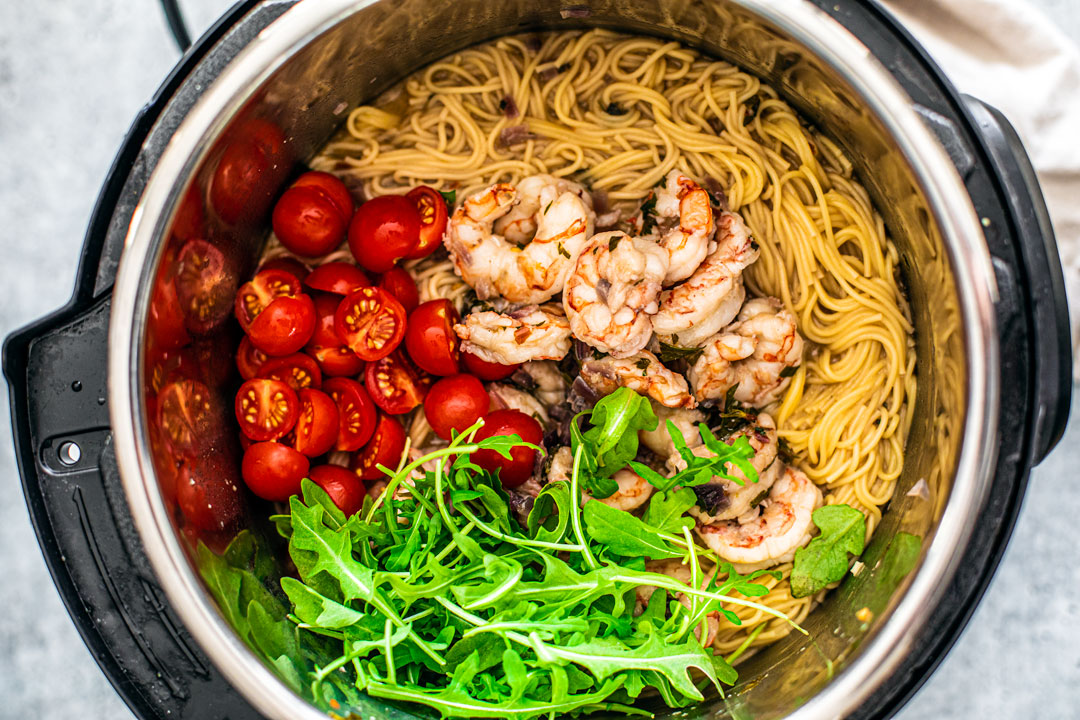 Overhead shot of all ingredients in the Instant Pot.