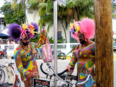 Key West Drage Queens on Duval St. with a bicycle built for two