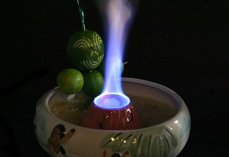 Halikai Hot Tub Tiki Drink with lime garnish to end all garnishes