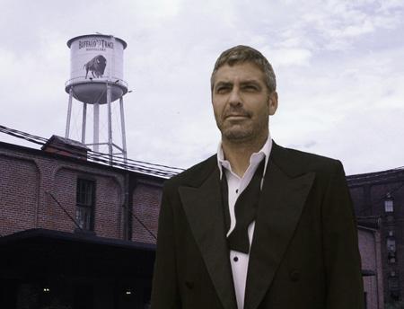 George Clooney Danny Ocean seen leaving Buffalo Trace, scene of the heist
