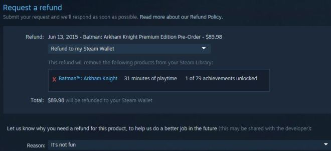 Arkham Knight refund request