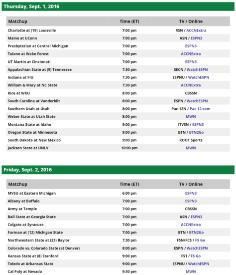 College Football Schedule