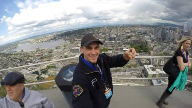 Photo of Martin and His Hall of Fame Coin Visit The Space Needle