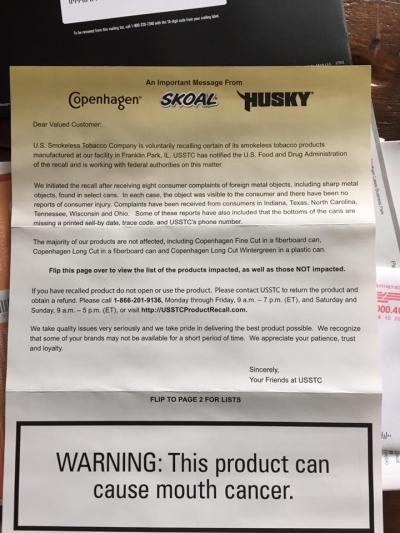 Skoal Recall Letter