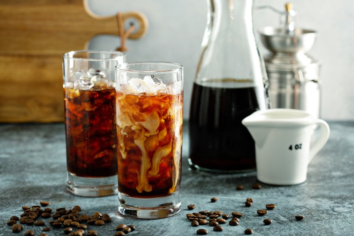 Cold brew iced coffee in tall glasses