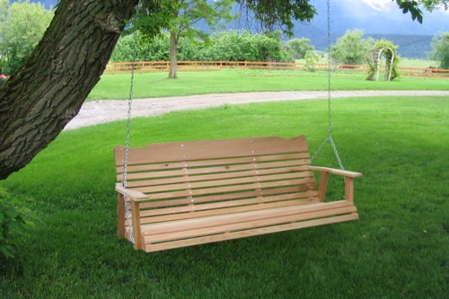Our Amish western red cedar porch swings comes with