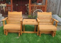 6' Cedar Settee Glider With Center Table