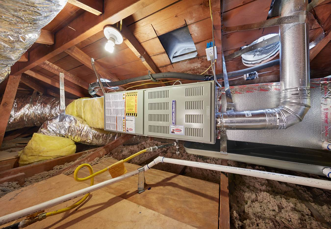 hight resolution of furnace in attic
