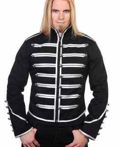Black Banned Military Drummer Parade Jacke, Gothic Clothing, men Jacket