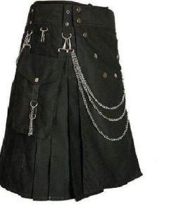 Deluxe Utility Fashion Kilt With Chrome Chain