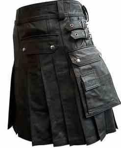 Black Leather Kilt with Twin Cargo Pockets, Cargo Pocket Kilts, Kilts for Men, Best Kilts