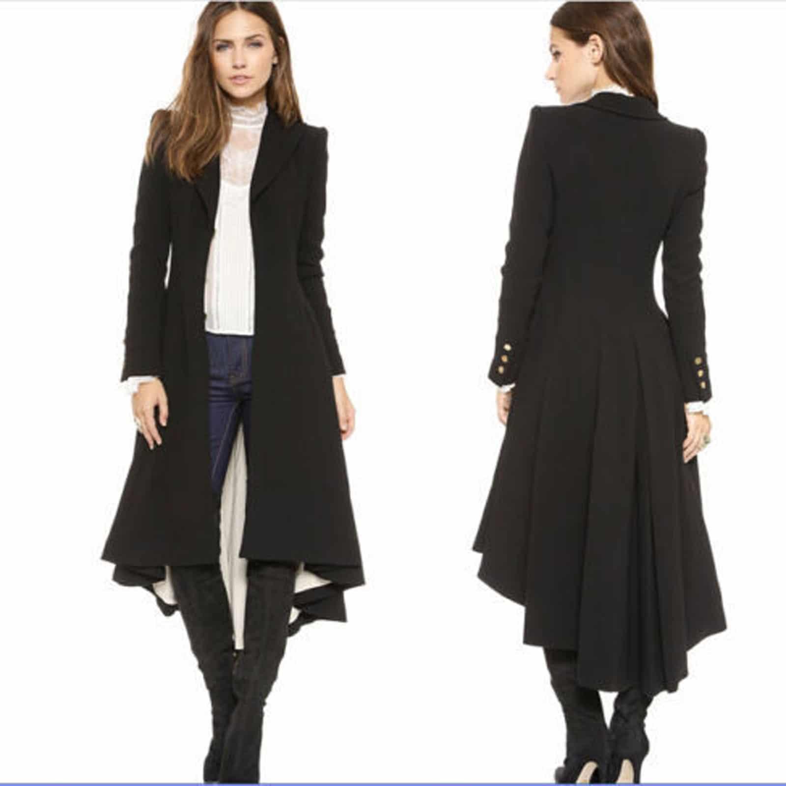 Black Victorian Trench Coat Ruffle Swallowtail Jacket -8070