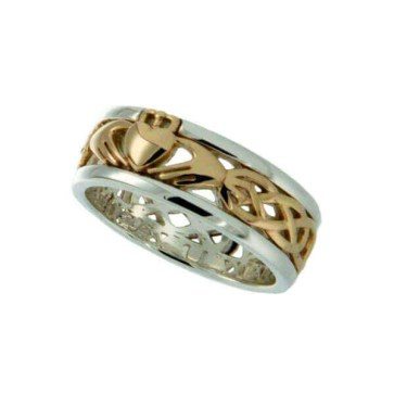 Silver Framed Gold Claddagh Ring Size 7