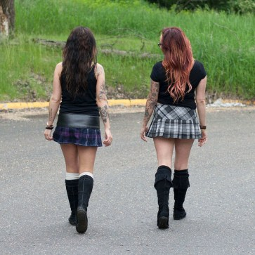Poly/Viscose Billie-Style Kilted Mini-Skirts
