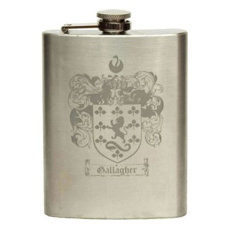 Engraved Stainless Steel Coat of Arms Flask
