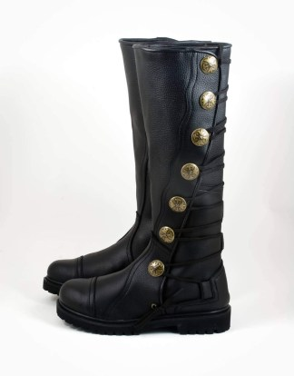 Premium Quality Leather Knee-High Boots - Black