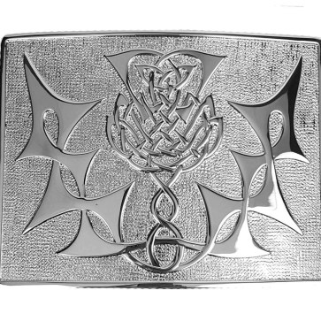 Highland Thistle Chrome Kilt Belt Buckle