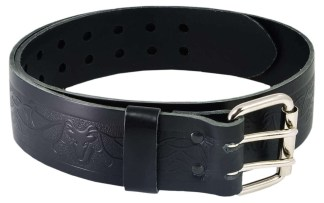 Stag Embossed Double Prong Utility Belt and Buckle