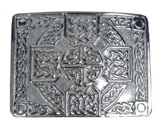 Chrome Celtic Cross Kilt Belt Buckle