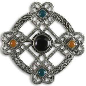 Five Stone Pewter Celtic Cross Brooch