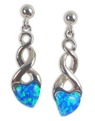 Blue Opal Heart Celtic Knot Earrings