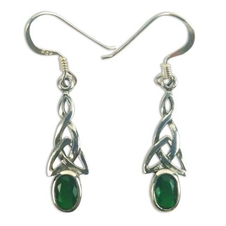 Green Triskle Earrings