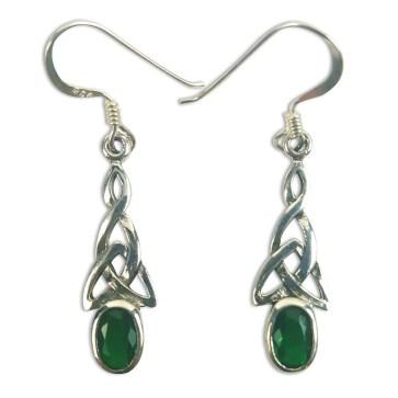Green Triskle Earrings