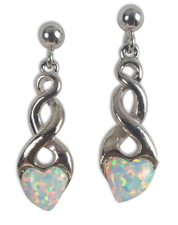 Opal Heart Earrings