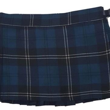 Ramsay Blue Tartan Poly/Viscose Kilted Mini Skirt