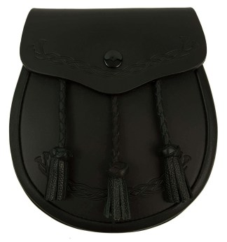 Black Leather Thistle Embossed Sporran