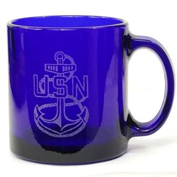 US Navy Logo Etched Coffee Mug